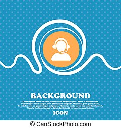 Customer support icon sign. Blue and white abstract background flecked with space for text and your design. Vector