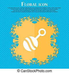 Baby rattle icon sign. Floral flat design on a blue abstract background with place for your text. Vector