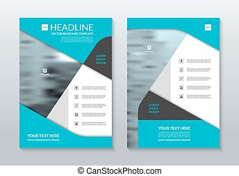 Blue annual report brochure layout template. A4 size. Vector...