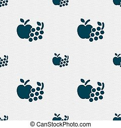 Fruits web icons sign. Seamless pattern with geometric texture. Vector