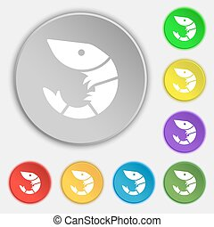 Shrimp, seafood icon sign. Symbol on eight flat buttons. Vector