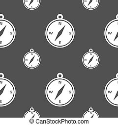 compass icon sign. Seamless pattern on a gray background. Vector