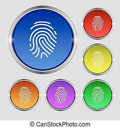 Scanned finger Icon sign. Round symbol on bright colourful...