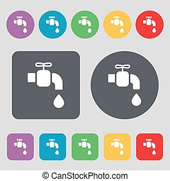 faucet icon sign. A set of 12 colored buttons. Flat design. Vector