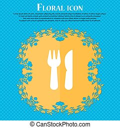 crossed fork over knife icon sign. Floral flat design on a blue abstract background with place for your text. Vector