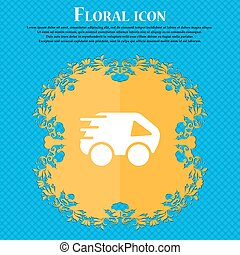 Car Icon sign. Floral flat design on a blue abstract background with place for your text. Vector