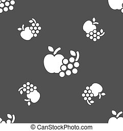 Fruits web icons sign. Seamless pattern on a gray background. Vector