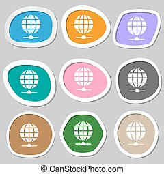 Website Icon symbols. Multicolored paper stickers. Vector...