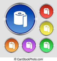 toilet paper icon sign. Round symbol on bright colourful...