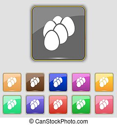 eggs icon sign. Set with eleven colored buttons for your...