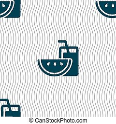 Energy drink, watermelon slice icon sign. Seamless pattern...