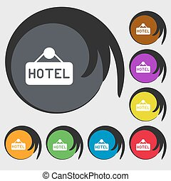 hotel icon sign. Symbols on eight colored buttons. Vector