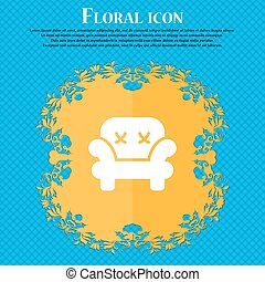 Armchair icon sign. Floral flat design on a blue abstract background with place for your text. Vector