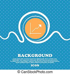 Chart icon sign. Blue and white abstract background flecked with space for text and your design. Vector