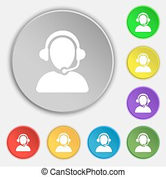 Customer support icon sign. Symbol on eight flat buttons....