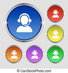 Customer support icon sign. Round symbol on bright colourful...