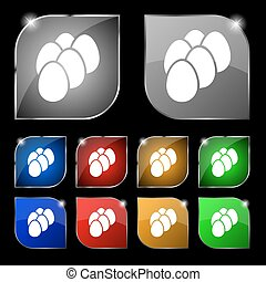 eggs icon sign. Set of ten colorful buttons with glare....