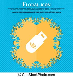 usb Icon sign. Floral flat design on a blue abstract background with place for your text. Vector