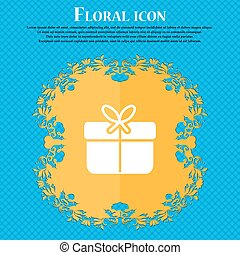 Gift box icon sign. Floral flat design on a blue abstract background with place for your text. Vector