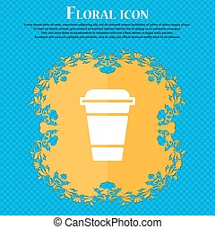 coffee icon sign. Floral flat design on a blue abstract background with place for your text. Vector