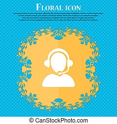 Customer support icon sign. Floral flat design on a blue abstract background with place for your text. Vector