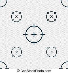 sight icon sign. Seamless pattern with geometric texture....
