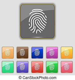Scanned finger Icon sign. Set with eleven colored buttons...