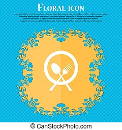 plate with cutlery icon sign. Floral flat design on a blue abstract background with place for your text. Vector