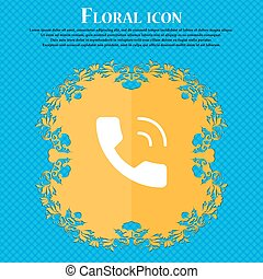 Phone icon sign. Floral flat design on a blue abstract background with place for your text. Vector