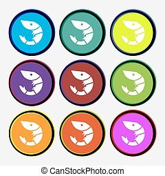 Shrimp, seafood icon sign. Nine multi colored round buttons. Vector