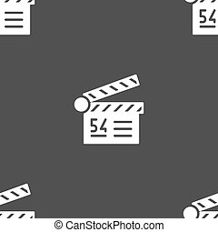 Cinema, movie icon sign. Seamless pattern on a gray background. Vector