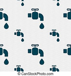 faucet icon sign. Seamless pattern with geometric texture....