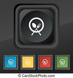 plate with cutlery icon symbol. Set of five colorful, stylish buttons on black texture for your design. Vector