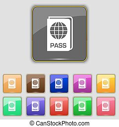 Passport icon sign. Set with eleven colored buttons for your...