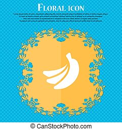 banana icon sign. Floral flat design on a blue abstract...