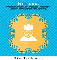 Cook icon sign. Floral flat design on a blue abstract background with place for your text. Vector
