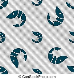 Shrimp, seafood icon sign. Seamless pattern with geometric texture. Vector