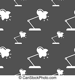 Table lamp icon sign. Seamless pattern on a gray background....
