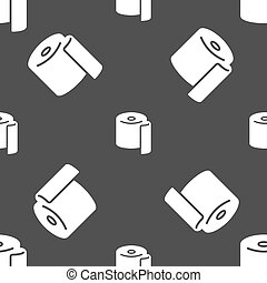 toilet paper icon sign. Seamless pattern on a gray...