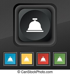 Dish with lid icon symbol. Set of five colorful, stylish buttons on black texture for your design. Vector