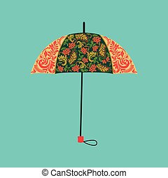 umbrella decorated with autumn floral ornaments