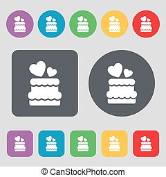 wedding cake icon sign. A set of 12 colored buttons. Flat design. Vector