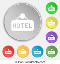 hotel icon sign. Symbol on eight flat buttons. Vector