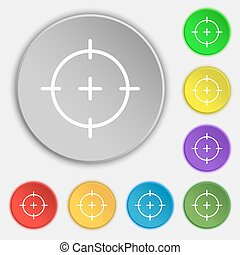 sight icon sign. Symbol on eight flat buttons. Vector...
