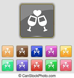 Two glasses of wine or champagne icon sign. Set with eleven colored buttons for your site. Vector