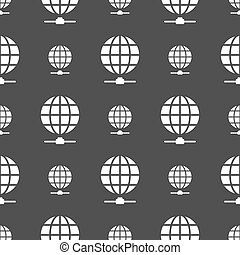 Website Icon sign. Seamless pattern on a gray background....