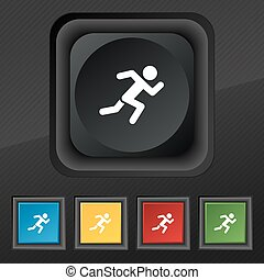 simple running human icon symbol. Set of five colorful, stylish buttons on black texture for your design. Vector