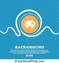 Car Icon sign. Blue and white abstract background flecked with space for text and your design. Vector