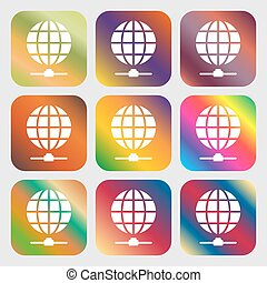 Website Icon sign. Nine buttons with bright gradients for...