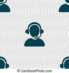 Customer support icon sign. Seamless pattern with geometric...